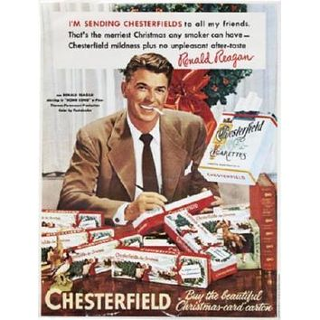 Reagan Ronald Chesterfield Cigarettes Ad poster Metal Sign Wall Art 8in x 12in