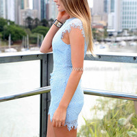 JESSICA DRESS , DRESSES, TOPS, BOTTOMS, JACKETS & JUMPERS, ACCESSORIES, 50% OFF , PRE ORDER, NEW ARRIVALS, PLAYSUIT, COLOUR, GIFT VOUCHER,,Blue,Print,LACE,SLEEVELESS,MINI Australia, Queensland, Brisbane