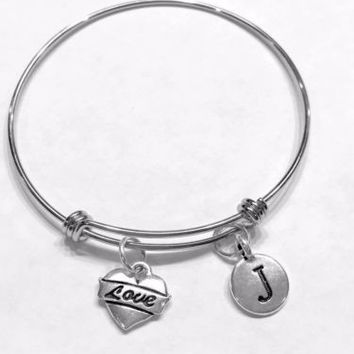Initial Bangle Charm Bracelet Love Heart Mother's Gift Wife Girlfriend Daughter