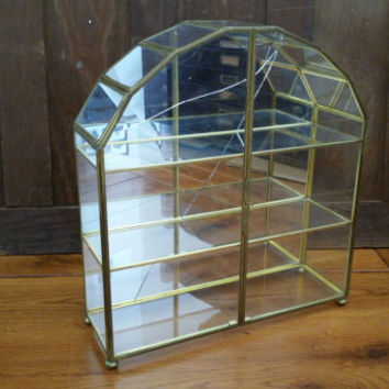 Vintage Brass Vitrine Glass Mirrored Large Display Case Shelf Jewelry Box