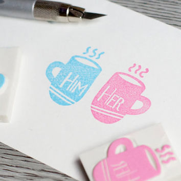 couple stamp, love stamp, for him stamp, for her stamp, matching mug stamp, wedding gift, his Hers stamp, cute valentines day card stamp