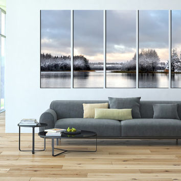 winter lake canvas art print, winter trees, wall decor canvas, extra large wall art, lanscape canvas print, seaside canvas printing t98