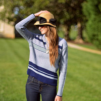 Vtg Navy & White Striped Slouchy Knit Sweater M