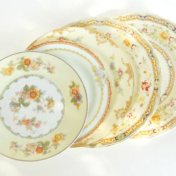Cottage Style Vintage Shabby Mismatched Plates, Set of 5, Dinner, Dessert, Wedding, Tea Party, Mosaic Supplies, Noritake, Grindley