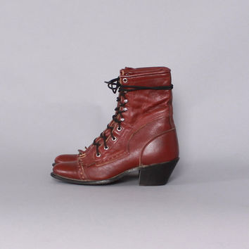Vintage 80s Lace-Up BOOTS / 1980s BURGUNDY Leather Kiltie Fringe Ropers, 7.5