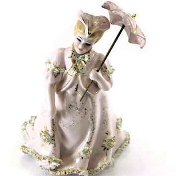 Vintage Lefton Figurine Porcelian Pink Victorian Women with umbrella Statue  Hand Painted Made in China c1950s