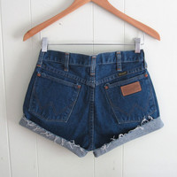 Vtg Dark Wash High Waisted Cut Off Denim Shorts Blue Cuffed Boyfriend Jean 27""