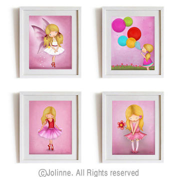 Childrens art print, nursery art, set of 4 pictures