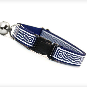 "Cat Collar - ""Mykonos"" - Classic Greek Key Pattern in Navy Blue"