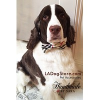Plaid Burly wood Dog Bow Tie attached to collar, plaid burly wedding, Dog birthday
