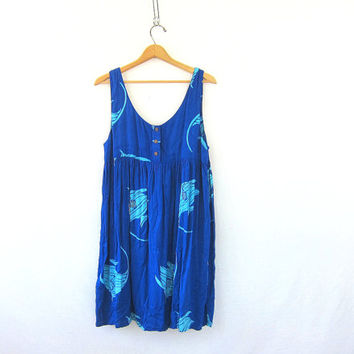 vintage sun dress. electric blue batik FISH  frock babydoll dress. rayon Festival dress. Hippie Boho nautical beach dress tropical summer