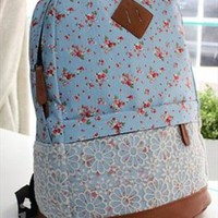 Flora Print Backpack with Lace Blue EAT804