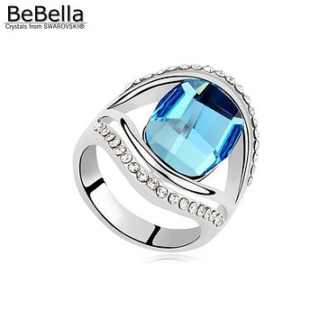 BeBella square stone ring for women party made with Crystals from Swarovski in 3 colors for Mother's Day gift