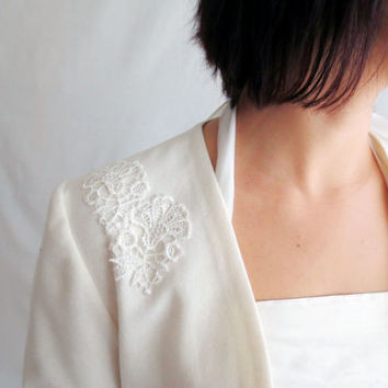 Bridal shrug, ivory shrug, ivory cropped jacket, long sleeved shrug, wedding shrug, wedding bolero,wool shrug, lace shrug