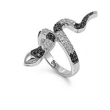 Edgy Black Cubic Zirconia Punk 2 Tone Silver Snake Ring