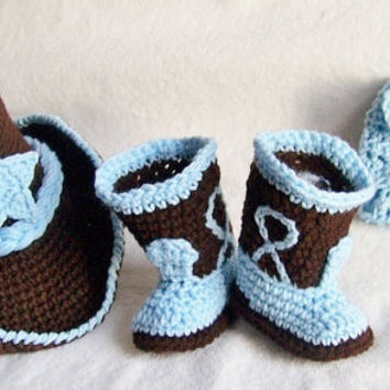 Baby Cowboy Hat Boots And Diaper Cover by conniemariepfost on Etsy
