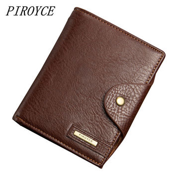 PIROYCE Men's Passport Wallet Best Leather High Capacity Men Wallets High Quality New Fashion Man  Coin Purse Card Holder Bags