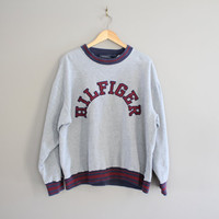 Tommy Hilfiger Sweatshirt Grey Fleece Lining Cotton Tommy Pullover Oversize Slouchy Sweatshirt Size L - XL
