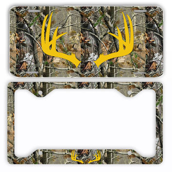 Yellow Antlers Camo Deer License Plate Frame Car Tag Country Hunting
