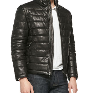 Men's Quilted Leather Jacket, Black - Andrew Marc - Black