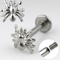 Spider Labret Ring Surgical Steel 14ga Cartilage Tragus Upper Ear Lip Chin Jewelry