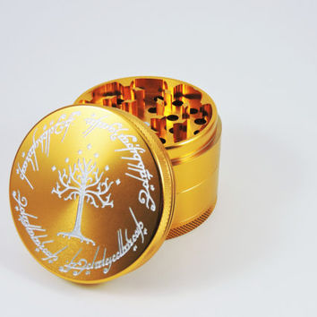 "LARGE Ring scripture herb grinder- 2.5""- free carrying pouch"