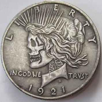 US Head-To-Head Two Face 1921/1921 Peace Dollar skull zombie skeleton hand carved Copy Coins High quality