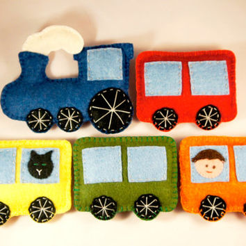 Train ornament felt, set of 5, locomotive, steam engine and wagon decoration, baby mobile, Nursery Housewarming home decor