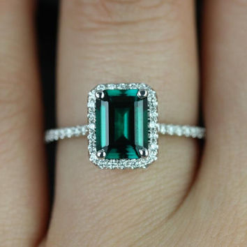 Esmeralda 14kt White Gold Rectangle Emerald and Diamond Halo Engagement Ring (Other Center Stone Available Upon Request)