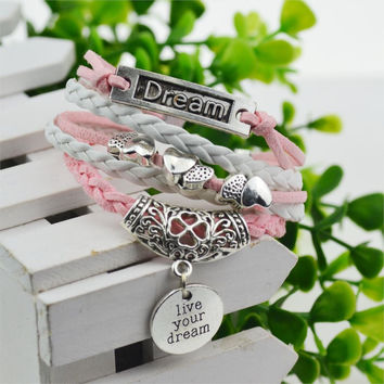 Live your dream, Cute Hearts & Dream Pendant Bracelet