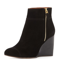 Suede Wedge Ankle Boot, Black