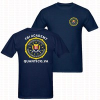 FBI Academy Quantico VA Police United States Department Of Justice T-Shirt Mens US Size Two Sides Printed Army O Neck Shirts Tee