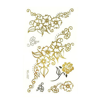 Wrapables Celebrity Inspired Temporary Tattoos in Metallic Gold Silver and Black, Small, Floral