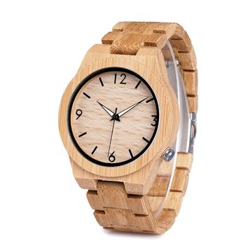 Natural All Bamboo Wood Watch Luxury Men's Japanese 2035 Movement Christmas Gift Special