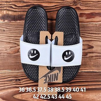 NIKE Fashion Women Men Casual Smiling Face Flats Slipper Sandals Shoes White
