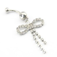 316l Stainless Steel Clear Crystal Bowknot Dangle Navel Ring Belly Barbell 14g 7/16