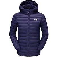 Under Armour Fashion Loose Print Men Cardigan Jacket Coat Windbreaker Hoodie Dark Blue