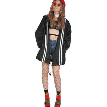 90s Oversized Baggy Sporty Windbreaker - 90s Jacket - 90s Grunge Jacket - Pastel Goth Y2k - Sporty Stripe - Black and White - Large