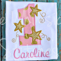 Personalized Embroidered/Appliqued Twinkle, Twinkle Little Star First Birthday Shirt