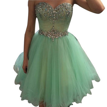 Sequins Beaded Short Homecoming Dresses With Rhinestones Strass A-line Sweetheart Corset Puffy Tulle Party Dress