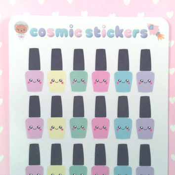Kawaii nail polish planner stickers x30 (perfect for nail appointments, manicures, mani-pedis, etc)!