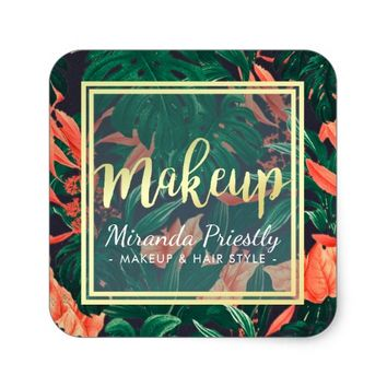 Gold Script & Tropical Floral Makeup Beauty Salon Square Sticker