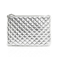 Quilted Clutch in Silver
