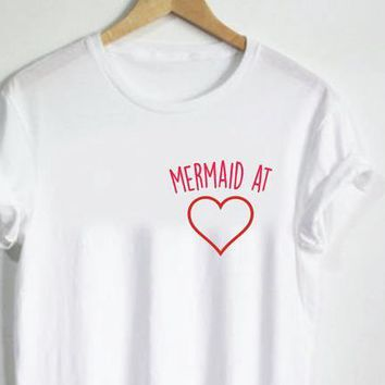 Women T shirt Mermaid at heart Pocket Letters Print Cotton Casual Funny Shirt For Lady White Top Tee Hipster T-73