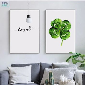 SPLSPL Nordic Minimalist Wall Art Picture Green Leaf Plant Canvas Print Poster Painting Scandinavian LOVE Home Decor No Frame