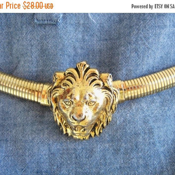 SALE Lion Head Belt Snake Stretch Belt signed Accessocraft Vintage 1960s