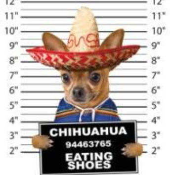 chihuahua eating shoes t-shirt mens t-shirts dogs mugshot t-shirts mug short dog pets tshirt pet lovers