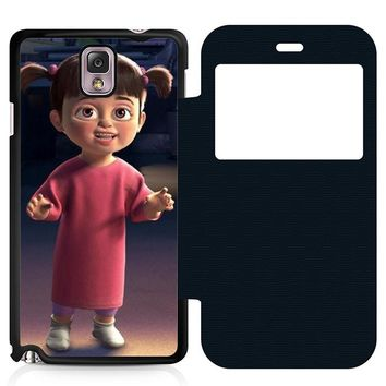 Monsters Inc Boo Fun Leather Wallet Flip Case Samsung Galaxy Note 3