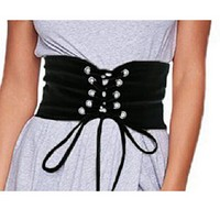 "25.50"" black fabric corset belt 5"" wide"