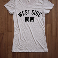 West side kansai Japanese west side Women Tee shirt loose neck Bella